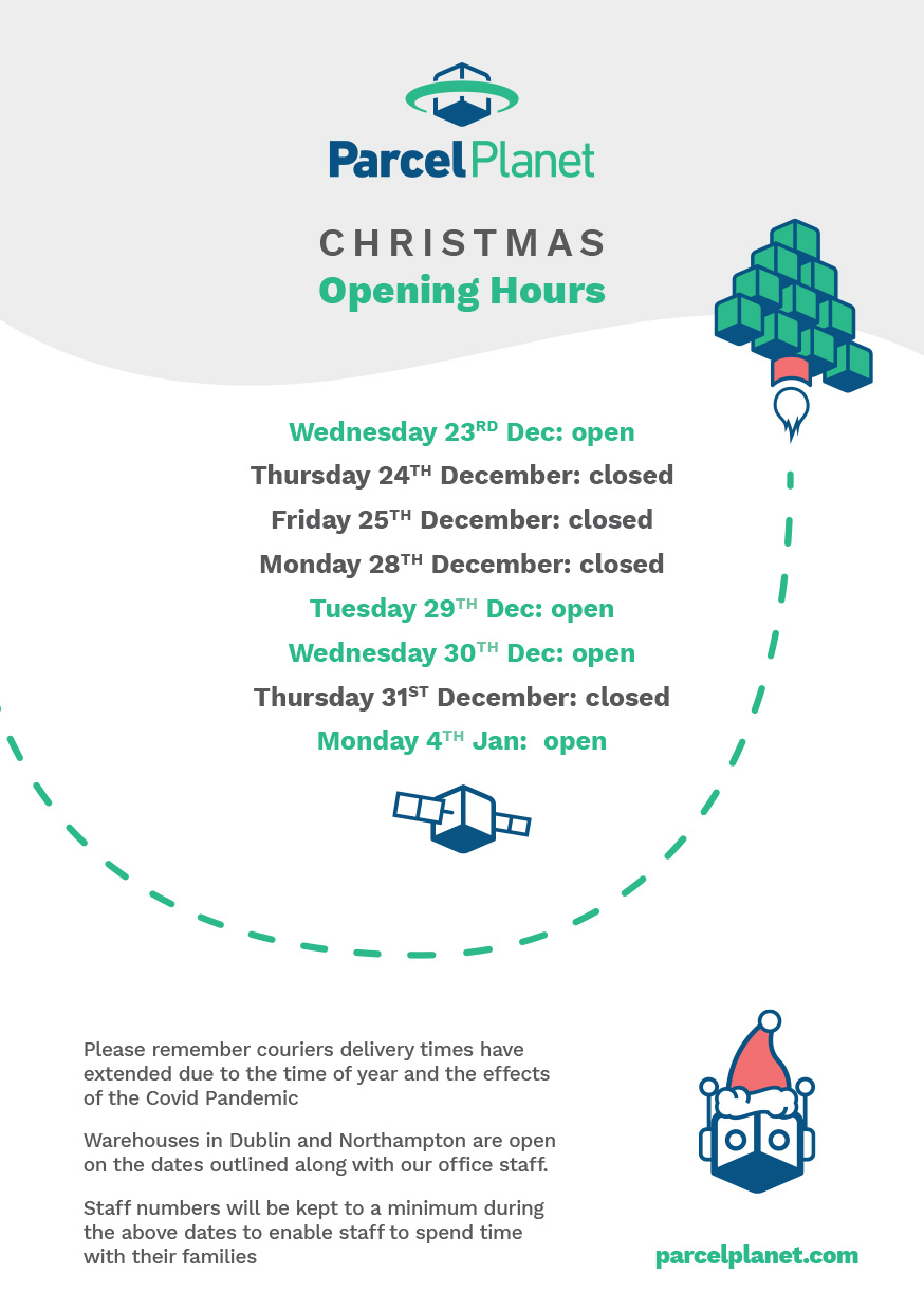 Christmas Opening Hours 2020 - ParcelPlanet